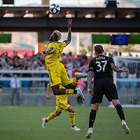 San Jose, CA - Saturday August 03, 2019: Gyasi Zardes #11, Guram Kashia #37 in a Major League Soccer (MLS) match between the San Jose Earthquakes and the Columbus Crew at Avaya Stadium.
