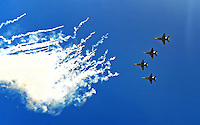 Sep. 20, 2009; San Diego, CA, USA; F/A-18 Hornets perform a fly over prior to the game between the San Diego Chargers against the Baltimore Ravens at Qualcomm Stadium in San Diego. Baltimore defeated San Diego 31-26. Mandatory Credit: Mark J. Rebilas-