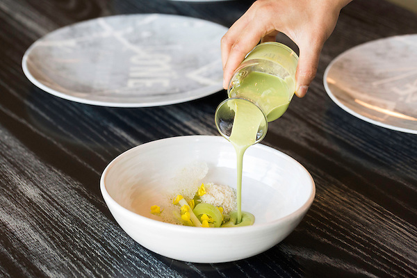 May 8, 2015. Chapel Hill, North Carolina.<br />  The Green Gazpacho at [ONE] Restaurant includes unripe tomatoes, grape, almond and celery branch.<br />  [ONE] Restaurant, located in Chapel Hill's Meadowmont development, specializes in contemporary cuisine, with an emphasis on flavor pairings and unique ingredients. <br />  Outsiders tend to lump Chapel Hill with nearby Durham, but the more sensible pairing is with Carrboro, the adjacent town that was once a mere offshoot known as West End. Even today the transition from Chapel Hill, anchored by North Carolina''s flagship public university, into downtown Carrboro is virtually seamless.