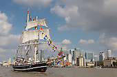 London, UK. 9 September 2014. Pictured: tall ship Lady of Avenel near Canary Wharf. The Tall Ships that have taken part in the Royal Greenwich Tall Ships Festival 2014 leave Greenwich in a Parade of Sail down the River Thames.