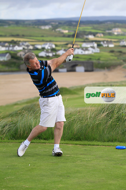Eddie Power (Kilkenny) on the 9th tee during Round 2 of The South of Ireland in Lahinch Golf Club on Sunday 27th July 2014.<br /> Picture:  Thos Caffrey / www.golffile.ie
