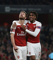 Arsenal's Shkodran Mustafi celebrates scoring his side's second goal with Alex Iwobi<br /> <br /> Photographer Rob Newell/CameraSport<br /> <br /> UEFA Europa League Round of 32 Second Leg - Arsenal v BATE Borisov - Thursday 21st February 2019 - The Emirates - London<br />  <br /> World Copyright © 2018 CameraSport. All rights reserved. 43 Linden Ave. Countesthorpe. Leicester. England. LE8 5PG - Tel: +44 (0) 116 277 4147 - admin@camerasport.com - www.camerasport.com