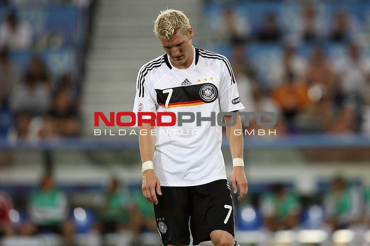UEFA Euro 2008 Semi-Finals Match 29 Basel - St. Jakob-Park. Deutschland ( GER ) - T&uuml;rkei ( TUR ) 3:2 ( 1:1 ). <br /> Bastian Schweinsteiger ( Germany / Mittelfeldspieler / Midfielder / Bayern Muenchen #07 ) zeigt sich entt&auml;uscht mit abgesenktem Blick.<br /> Foto &copy; nph (  nordphoto  )