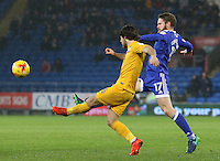 Aron Gunnarsson of Cardiff City challenges Ben Pearson of Preston North End during the Sky Bet Championship match between Cardiff City and Preston North End at Cardiff City Stadium, Wales, UK. Tuesday 31 January 2017