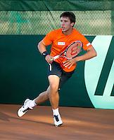 06-07-11, Tennis, South-Afrika, Potchefstroom, Daviscup South-Afrika vs Netherlands, Training Nederlands team, Igor Sijsling