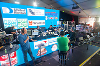 WMMR's Pierre Robert broadcasts from Camp Out for Hunger as he auctions off junk to raise money for Philabundance Wednesday, November 29, 2017 at Xfinity Live! in Philadelphia, Pennsylvania. (Photo by William Thomas Cain/Cain Images)