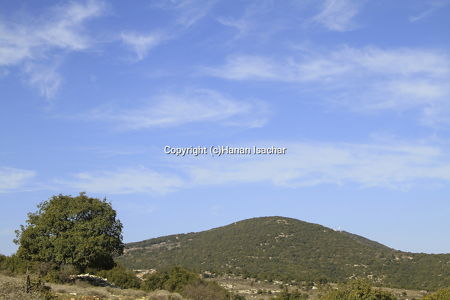 Israel, Upper Galilee, the peak of Mount Meron as seen from Ein Zeved