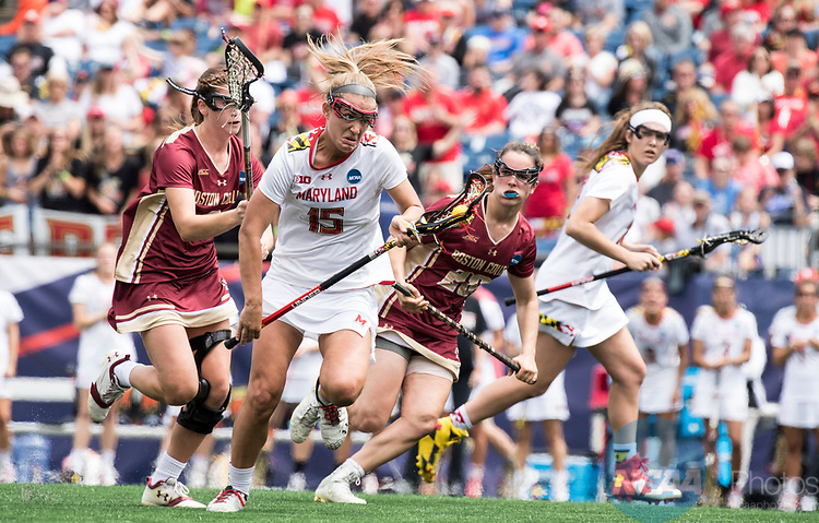 FOXBORO, MA - MAY 28:  Zoe Stukenberg #15 of the Maryland Terrapins during the Division I Women's Lacrosse Championship held at Gillette Stadium on May 28, 2017 in Foxboro, Massachusetts. <br /> (Photo by Ben Solomon/NCAA Photos via Getty Images)