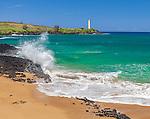 Kauai, HI: Nawiliwili Lighthouse above Ninini Beach on Nawiliwili Bay