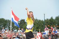 FIERLJEPPEN: LINSCHOTEN: 07-07-2018, Tweekamp Holland-Friesland, Holland wint, Jaco de Groot, 21.37m, ©foto Martin de Jong