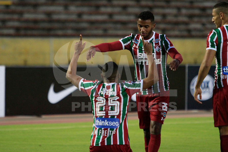 QUITO, EQUADOR, 26.07.2017 - UNIVERSIDA CATOLICA-FLUMINENSE - Marlon Freitas comemora gol do Fluminense contra Universidad Catolica (ECU) em partida valida pela Copa Sudamericana no Atahulapa Estadio na cidade de Quito no Equador. (Foto:  Franklin Jácome/Brazil Photo Press)