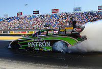 Jul. 1, 2012; Joliet, IL, USA: NHRA funny car driver Alexis DeJoria during the Route 66 Nationals at Route 66 Raceway. Mandatory Credit: Mark J. Rebilas-