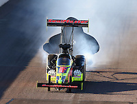 Feb 26, 2016; Chandler, AZ, USA; NHRA top fuel driver J.R. Todd during qualifying for the Carquest Nationals at Wild Horse Pass Motorsports Park. Mandatory Credit: Mark J. Rebilas-