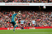 Bernd Leno of Arsenal faces a shot during the Premier League match between Arsenal and Aston Villa at the Emirates Stadium, London, England on 22 September 2019. Photo by Carlton Myrie / PRiME Media Images.