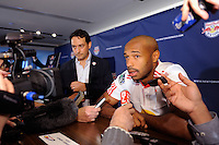 Thierry Henry (14) of the New York Red Bulls is interviewed on Media Day at Red Bull Arena in Harrison, NJ, on March 15, 2011.