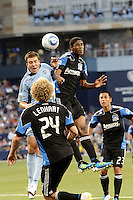 Matt Besler (blue) Sporting KC defender and Khari Stephenson San Jose Earthquakes fforward go up for a header...Sporting KC defeated San Jose Earthquakes 1-0 at LIVESTRONG Sporting Park, Kansas City ,Kansas,...