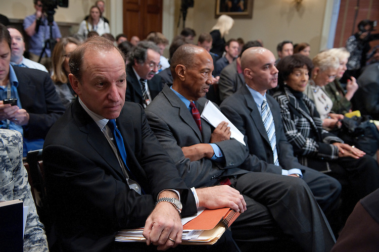 UNITED STATES - NOV 15: Abbe David Lowell (left)a partner in the law firm of McDermott Will & Emery LLP based in the Firm's Washington, D.C., office and is head of the Firm's White-Collar Criminal Defense group listens as Rep. Charles Rangel, D-N.Y., gives his opening statement during the House Standards of Official Conduct (Ethics) Committee Adjudicatory Subcommittee hearing to determine whether any alleged ethics violations committed by him can be proven by clear and convincing evidence. The public hearing, where Rangel faces 13 allegations that his fund-raising and personal finances violated Congressional rules was held in Longworth House Building. (Photo By Douglas Graham/Roll Call)