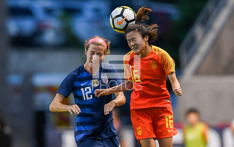 Sandy, Utah - Thursday June 07, 2018: Tierna Davidson, Yan Jinjin during an international friendly match between the women's national teams of the United States (USA) and China PR (CHN) at Rio Tinto Stadium.
