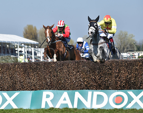 April 8th 2017, Aintree Racecourse, Liverpool, England; Randox Health Grand National Festival Horse racing, Grand National Day; Politologue ridden by Sam Twiston-Davies leads the race over the final fence of the Doom Bar Maghull Novices Chase
