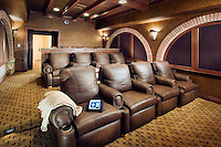 Tuscan Theater Screening Room With Arches
