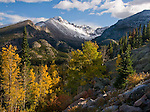 fall, scenic, aspen, Longs Peak, Glacier Gorge, September, Rocky Mountain National Park, Colorado, USA