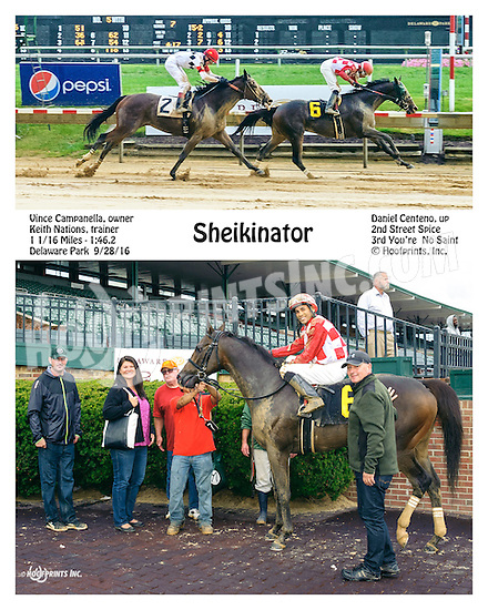 Sheikinator winning at Delaware Park on 9/28/16