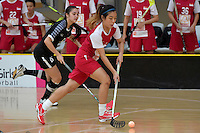 Singapore&rsquo;s Mindy Lim in action during the World Floorball Championships 2017 Qualification for Asia Oceania Region - Singapore v Thailand at ASB Sports Centre , Wellington, New Zealand on Sunday 5 February 2017.<br /> Photo by Masanori Udagawa<br /> www.photowellington.photoshelter.com.