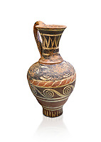 Minoan decorated Kamares  style jug with swirl pattern,  Poros cemetery 1800-1650 BC;  Heraklion Archaeological  Museum, white background