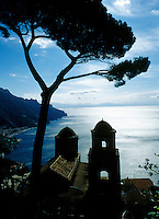 View of the coastline from Ravello towards Salerno, Amalfi Coast, Italy