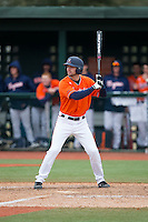 John La Prise (2) of the Virginia Cavaliers at bat against the Seton Hall Pirates at The Ripken Experience on February 28, 2015 in Myrtle Beach, South Carolina.  The Cavaliers defeated the Pirates 4-1.  (Brian Westerholt/Four Seam Images)