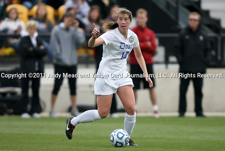 04 December 2011: Duke's Nicole Lipp. The Stanford University Cardinal played the Duke University Blue Devils at KSU Soccer Stadium in Kennesaw, Georgia in the NCAA Division I Women's Soccer College Cup Final.