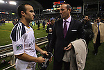 20 November 2011: Major League Soccer commissioner Don Garber (right) congratulates Los Angeles' Landon Donovan (left) after the game. The Los Angeles Galaxy defeated the Houston Dynamo 1-0 at the Home Depot Center in Carson, CA in MLS Cup 2011, Major League Soccer's championship game.