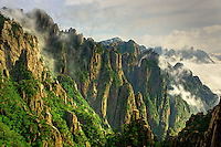 Mist among the peaks and valleys of Grand Canyon in West Sea, Mt. Huang Shan or Yellow Mountain