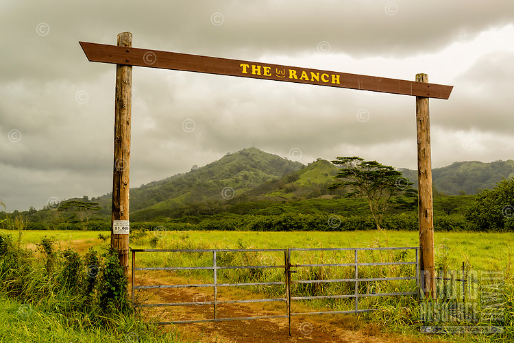 Entrance to The W Ranch, a cattle ranch in back country Koloa, Kaua'i.