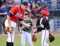 11 April 2008: Photo of the Mississippi Braves, Class AA affiliate of the Atlanta Braves, in a game against the Mobile BayBears at Trustmark Park in Pearl, Miss. Photo by:  Tom Priddy/Four Seam Images