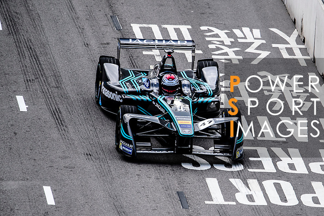 Adam Carroll of Panasonic Jaguar Racing during the first stop of the FIA Formula E Championship HKT Hong Kong ePrix at the Central Harbourfront Circuit on 9 October 2016, in Hong Kong, China. Photo by Marcio Rodrigo Machado / Power Sport Images