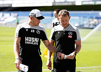 18th July 2020; The Kiyan Prince Foundation Stadium, London, England; English Championship Football, Queen Park Rangers versus Millwall; Millwall Manager Gary Rowett and Millwall Interim Assistant Manager Adam Barrett talking tactics as both walk towards the away tunnel after half time