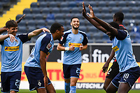 Goal celebration, celebrate the goal zum 0:2 durch Marcus Thuram (Borussia Moenchengladbach)<br />  - 16.05.2020, Fussball 1.Bundesliga, 26.Spieltag, Eintracht Frankfurt  - Borussia Moenchengladbach emspor, v.l. Stadionansicht / Ansicht / Arena / Stadion / Innenraum / Innen / Innenansicht / Videowall<br /> <br /> <br /> Foto: Jan Huebner/Pool VIA Marc Schüler/Sportpics.de<br /> <br /> Nur für journalistische Zwecke. Only for editorial use. (DFL/DFB REGULATIONS PROHIBIT ANY USE OF PHOTOGRAPHS as IMAGE SEQUENCES and/or QUASI-VIDEO)