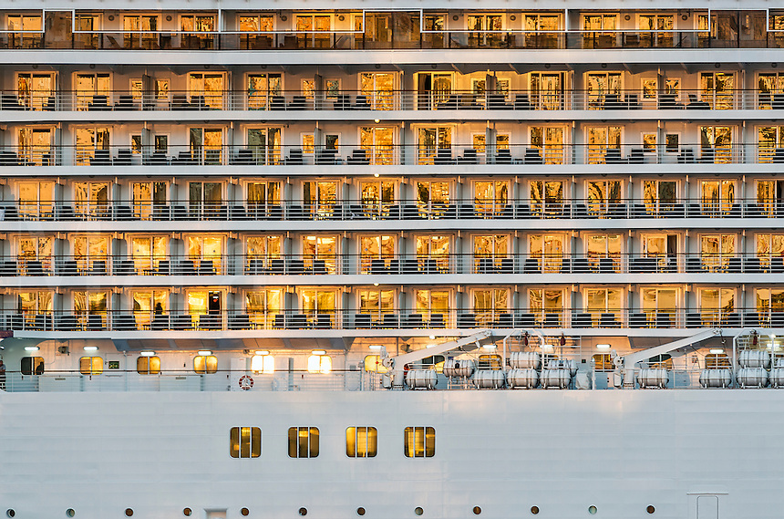 Cruise ship detail bathed in golden morning light.