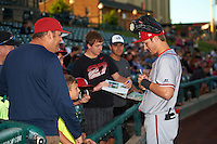 Syracuse Chiefs center fielder Trea Turner (7) signs autographs before a game against the Rochester Red Wings on July 1, 2016 at Frontier Field in Rochester, New York.  Rochester defeated Syracuse 5-3.  (Mike Janes/Four Seam Images)