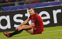 Roma s Edin Dzeko sits on the pitch during the Champions League Group C soccer match between Roma and Chelsea at Rome's Olympic stadium, October 31, 2017.<br /> UPDATE IMAGES PRESS/Riccardo De Luca