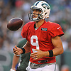 Bryce Petty #9 of the New York Jets heads to the sideline during the team's annual Green & White practice and scrimmage at MetLife Stadium in East Rutherford, NJ on Saturday, Aug. 5, 2017.