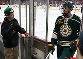 Jack Lyman (UVM), Michael Paliotta (UVM - 2) - The Boston College Eagles defeated the visiting University of Vermont Catamounts to sweep their quarterfinal matchup on Saturday, March 16, 2013, at Kelley Rink in Conte Forum in Chestnut Hill, Massachusetts.