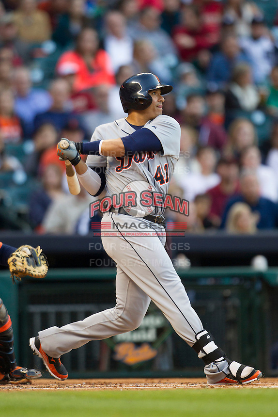 Detroit Tigers designated hitter Victor Martinez (41) follows through on his swing during the MLB baseball game against the Houston Astros on May 3, 2013 at Minute Maid Park in Houston, Texas. Detroit defeated Houston 4-3. (Andrew Woolley/Four Seam Images).