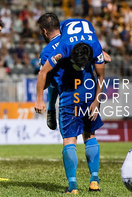 SC Kitchee Forward Kwan Yee Lo (#12) is carried on arms by Lucas da Silva SC Kitchee (L) while celebrating his score during the week two Premier League match between Kitchee and Dreams FC at on September 10, 2017 in Hong Kong, China. Photo by Marcio Rodrigo Machado / Power Sport Images