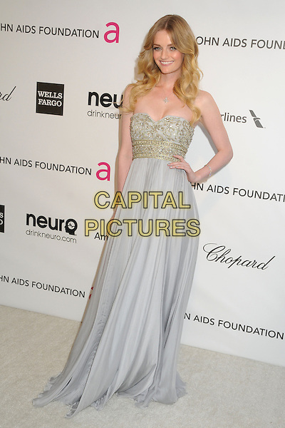 Lydia Hearst.21st Annual Elton John Academy Awards Viewing Party held at West Hollywood Park, West Hollywood, California, USA..February 24th, 2013.oscars full length dress hand on hip blue gold strapless beads beaded .CAP/ADM/BP.©Byron Purvis/AdMedia/Capital Pictures.