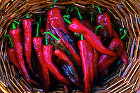 Sonora Chili Peppers In Basket.