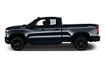 Car driver side profile view of a 2019 Chevrolet Silverado 1500 Custom Trail Boss 4 Door Pick Up