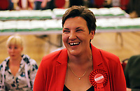 Pictured: Gower candidate Tonia Antoniazzi. Friday 09 June 2017<br /> Re: Counting of ballots at Brangwyn Hall for the general election in Swansea, Wales, UK
