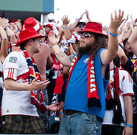 New York Red Bulls fans show their frustration with their team during a Major League Soccer game at PPL Park in Chester, PA.  Philadelphia defeated New York, 3-0.